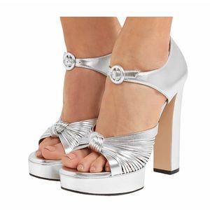 SALE 🌟 GUCCI Metallic Leather Platform Sandal NIB